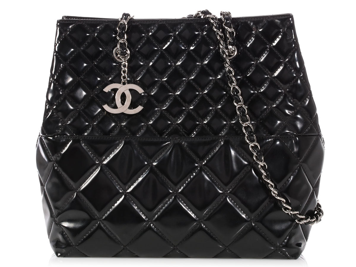 Chanel Black Quilted Patent North-South In the Business Tote