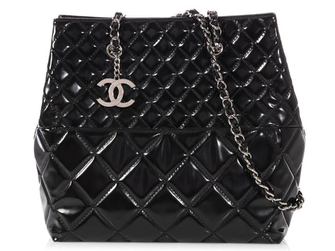 Chanel Black Quilted Patent North-South In the Business Tote b78de8407914e