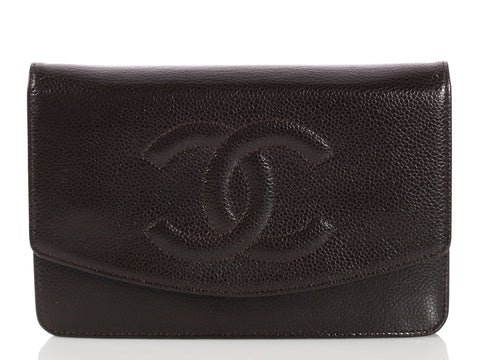 Chanel Brown Caviar Timeless Wallet on a Chain WOC