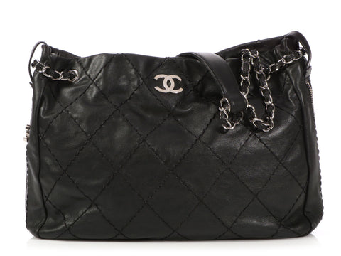 Chanel Black Quilted Calfskin Ultimate Stitch Expandable Hobo