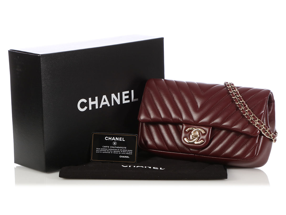 a118815e3926 Chanel Medium Burgundy Chevron-Quilted Lambskin Single Flap