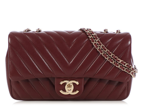 8e6c9749bcef Chanel Medium Burgundy Chevron-Quilted Lambskin Single Flap