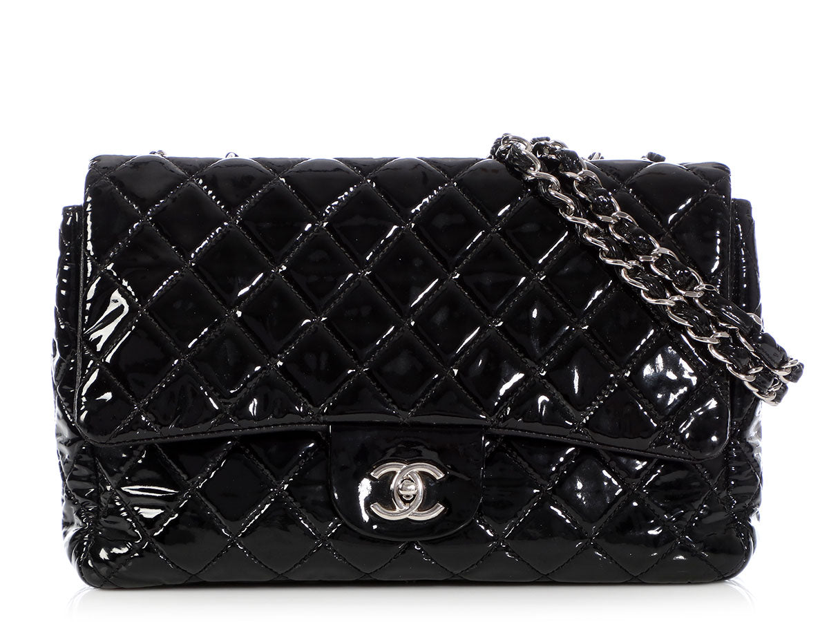 7dd3001eadd9 Chanel Jumbo Black Quilted Patent Classic Single Flap