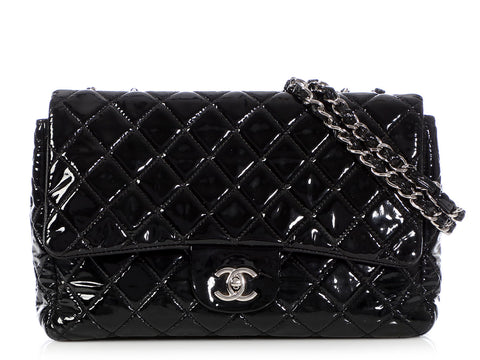 Chanel Jumbo Black Quilted Patent Classic Single Flap