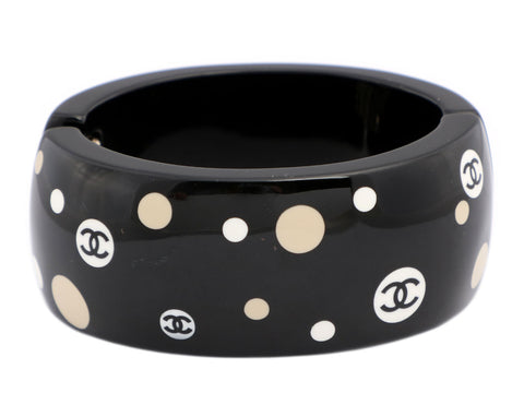 Chanel Black Resin CC Polka Dot Bangle