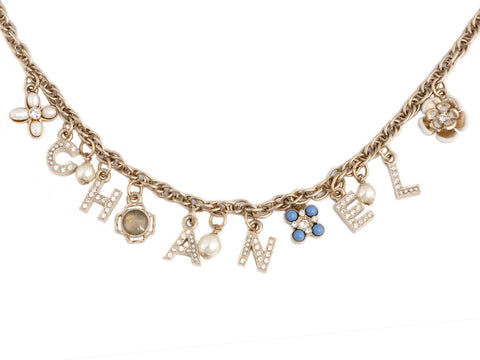 Chanel Crystal and Pearl Charm Necklace