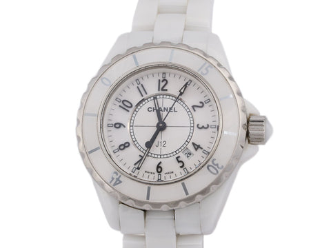 Chanel White Ceramic J12 Watch 33mm