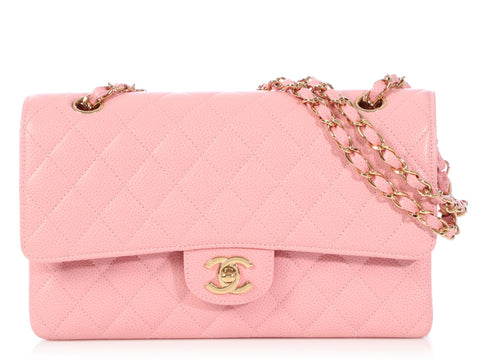 e89a755e1065 Chanel Medium Large Pink Quilted Caviar Classic Double Flap