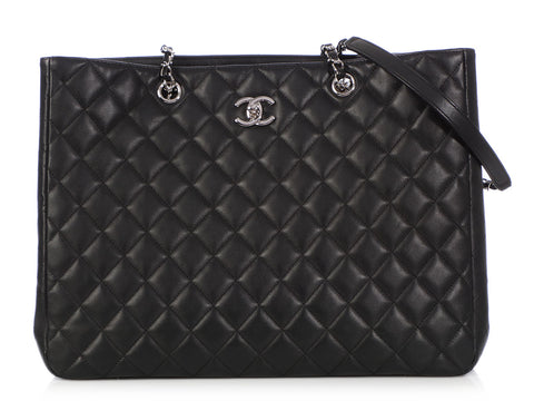 Chanel Black Quilted Lambskin Shopping Tote