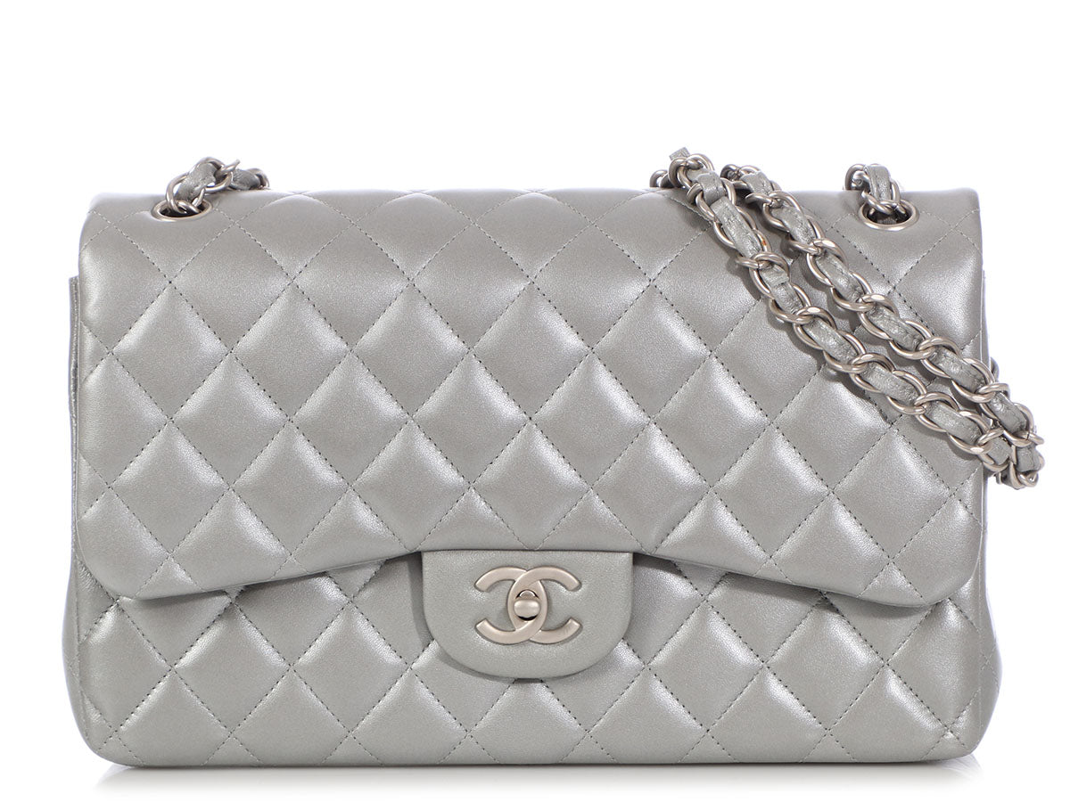 Chanel Jumbo Silver Quilted Lambskin Classic Double Flap