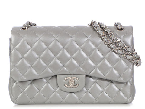 Chanel Jumbo Silver Quilted Lambskin Classic Double Flap 09bd198d2e9ab