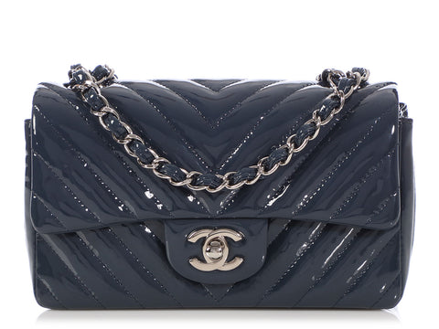 Chanel Dark Blue Chevron-Quilted Patent Mini Classic