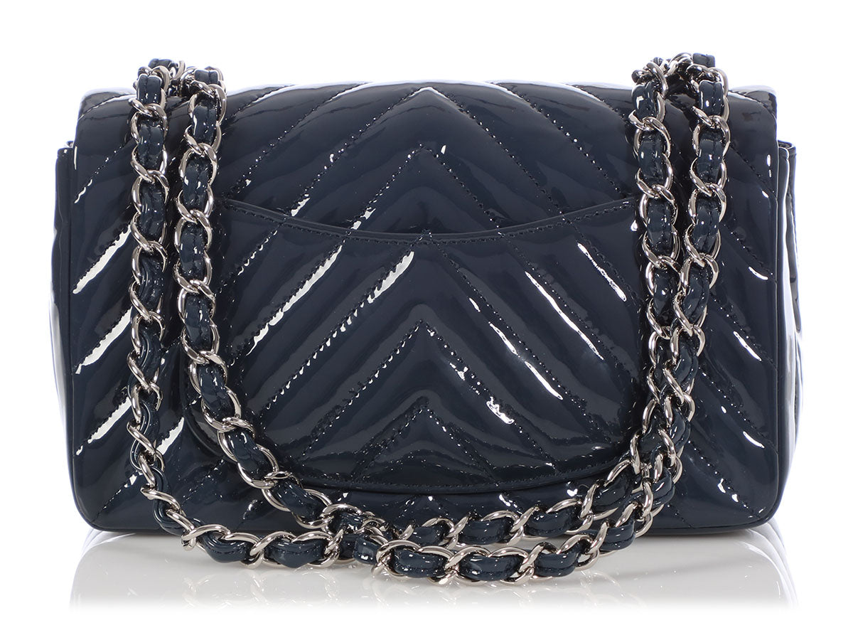 d7d15ed433b2be Chanel Dark Blue Chevron-Quilted Patent Mini Classic