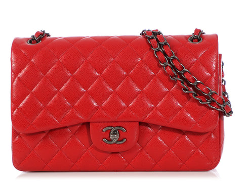 c9d6892f0ce8 Chanel Jumbo Red Quilted Caviar Classic Double Flap