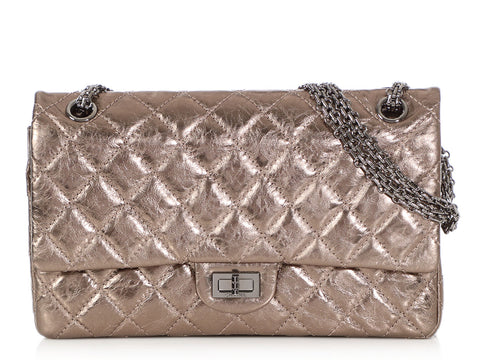 Chanel Argent Foncé Distressed Quilted Calfskin Reissue 226 Double Flap