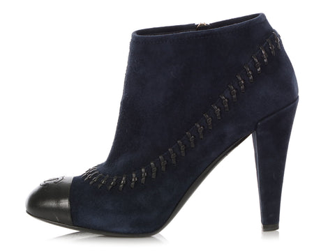 Chanel Navy Suede Ankle Boots