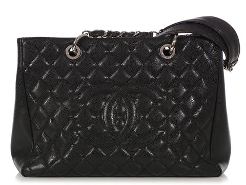 Chanel Black Part-Quilted Caviar Grand Shopping Tote GST
