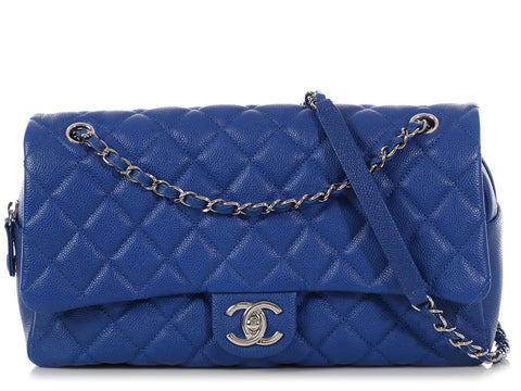 Chanel Jumbo Royal Blue Quilted Caviar Easy Zip Flap