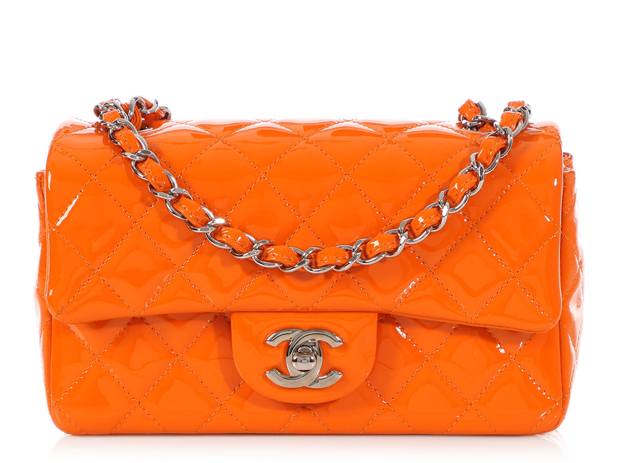 Chanel Orange Patent Mini Classic
