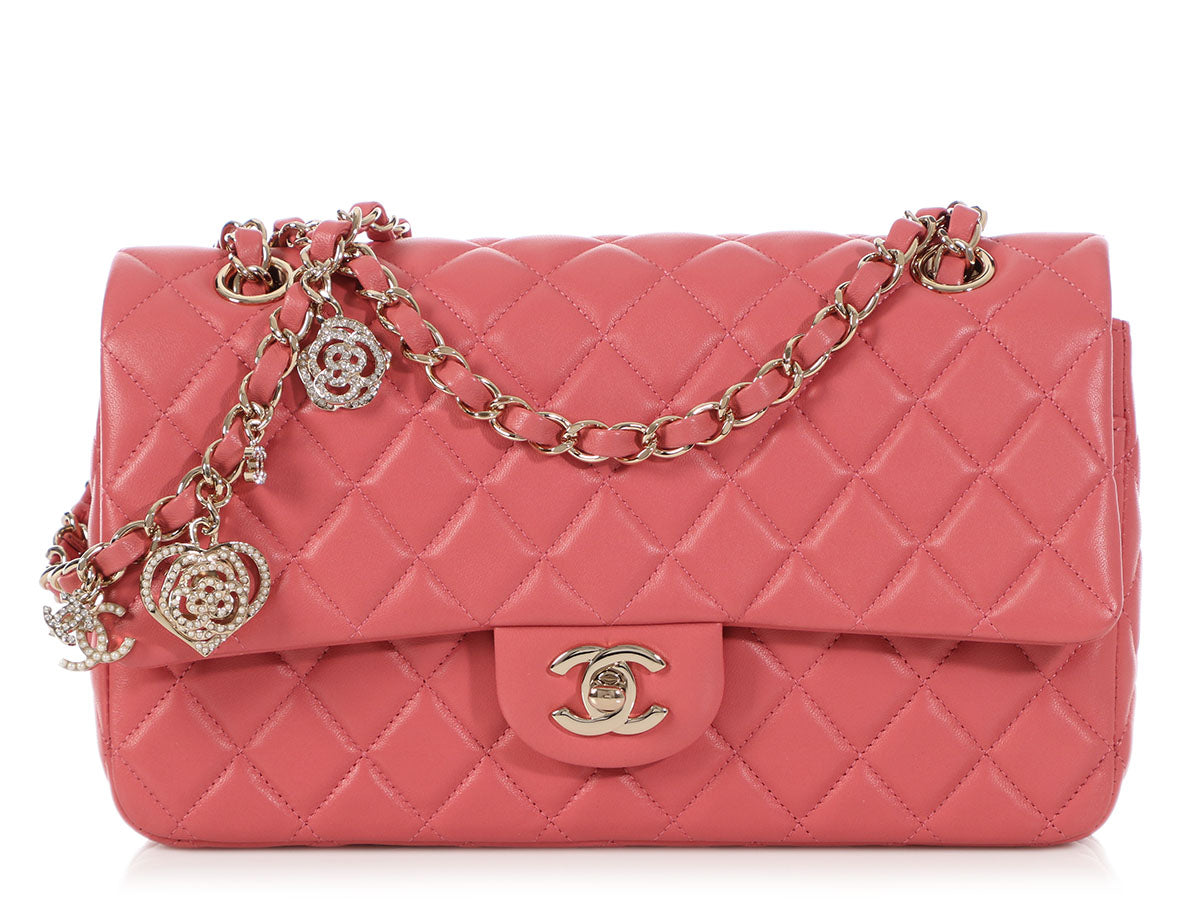 e4f24900a79aec Chanel Medium Pink Quilted Lambskin Valentine Charms Single Flap