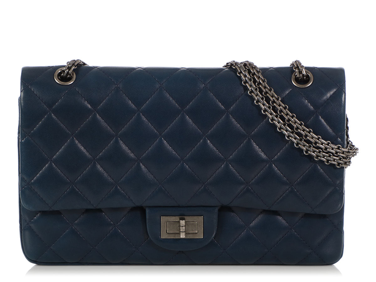 bfe984a374cf Chanel Blue Quilted Lambskin Reissue 227 Classic Double Flap