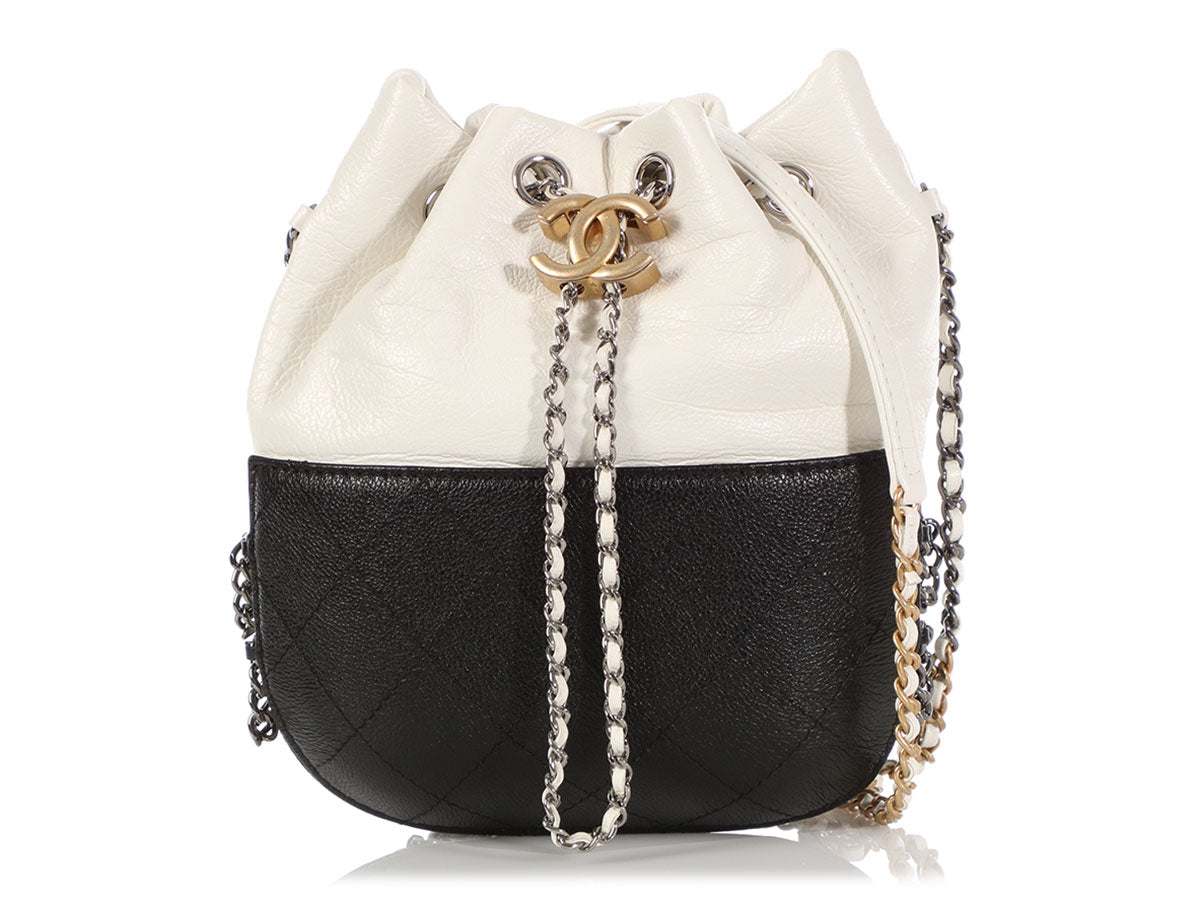 23140ce162fb Chanel Small Black and White Gabrielle Drawstring Bag