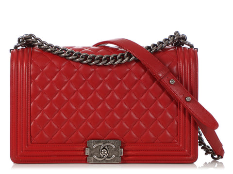 Chanel Large Red Quilted Lambskin Boy Bag