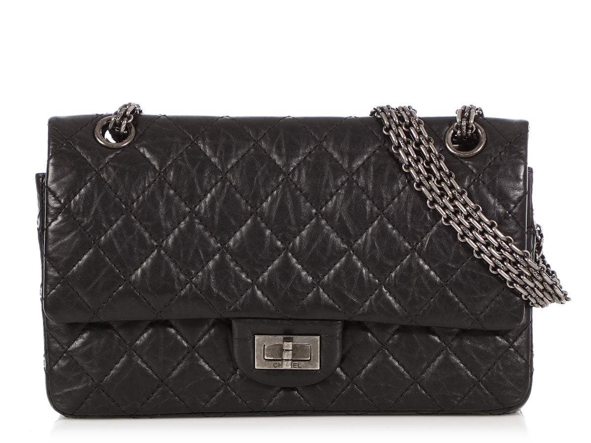 Chanel Black Distressed Quilted Calfskin Reissue 225 Double Flap