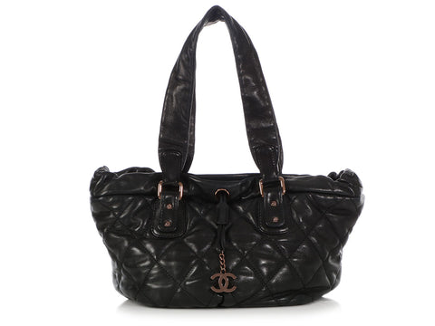 Chanel Black Quilted Lambskin Cloudy Bundle Drawstring Tote