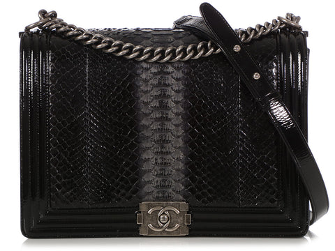 Chanel Large Black/Smoke Python Boy Bag