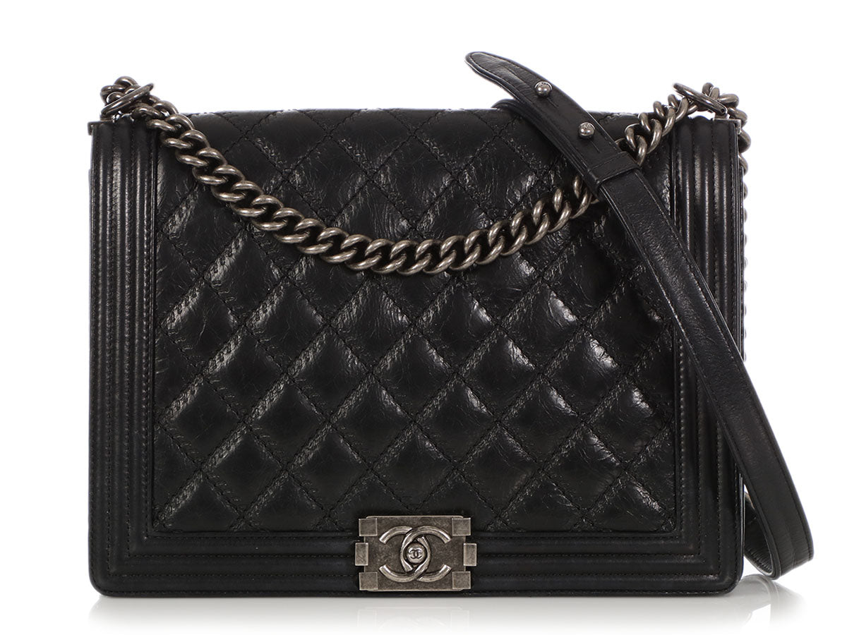 Chanel Large Black Double-Stitched Distressed Quilted Calfskin Boy Bag