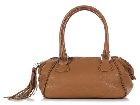 Chanel Camel Caviar Bowler Bag