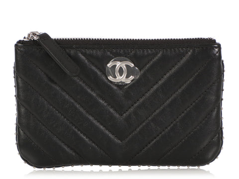 Chanel Small Black Quilted Calfskin Studded O Case