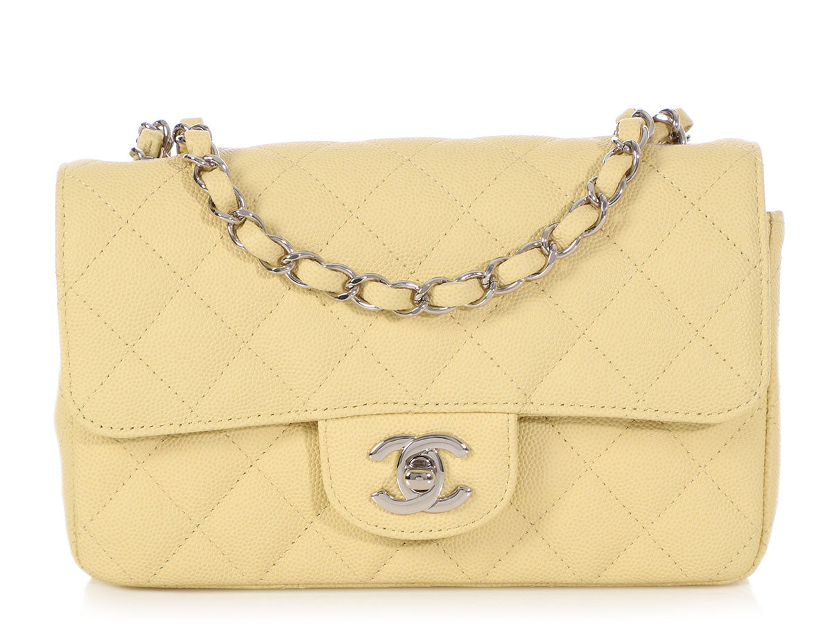 Chanel Mini Light Yellow Quilted Caviar Classic