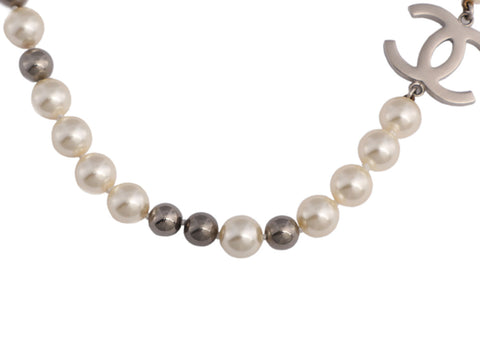 Chanel White and Gray Pearl Logo Necklace