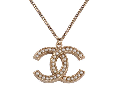 Chanel Medium Pearl Logo Pendant Necklace