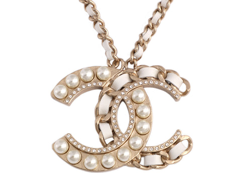 Chanel Large Crystal Pearl Leather Logo Pendant Necklace