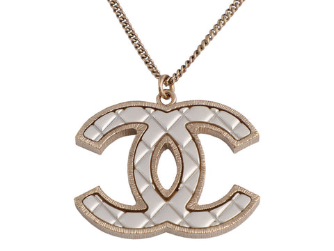 Chanel Two-Tone Quilted Logo Pendant Necklace