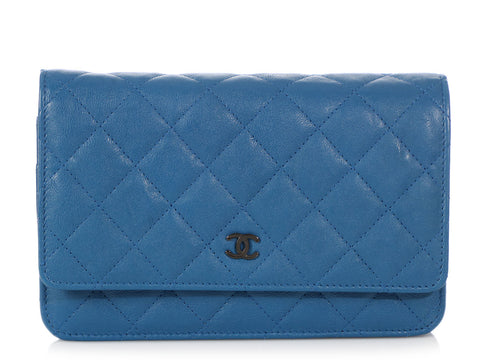 Chanel Blue Quilted Distressed Calfskin So Wallet on a Chain WOC