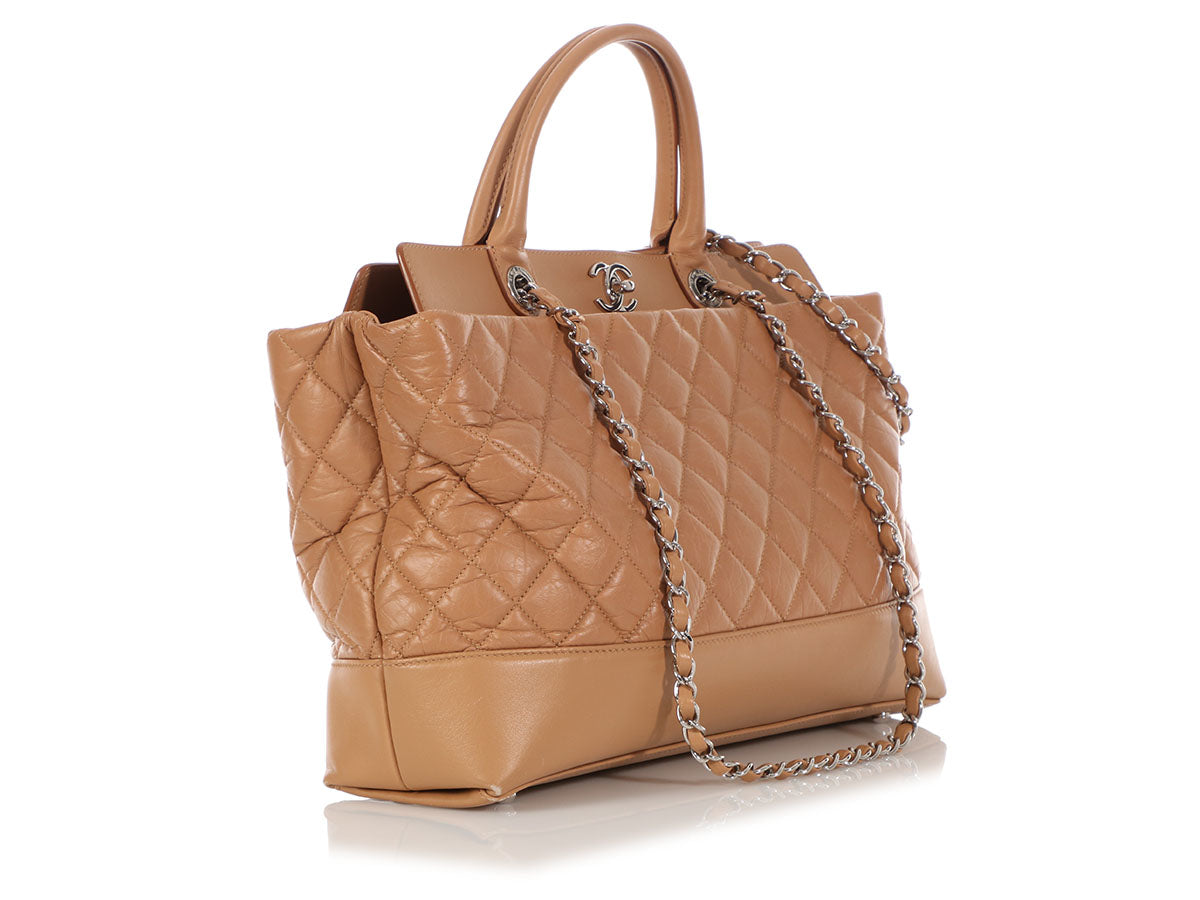 f461baac1d9c22 Chanel Caramel Part-Quilted Calfskin CC Tote