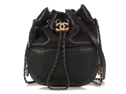 Chanel Small Black Quilted Calfskin Gabrielle Drawstring Bag