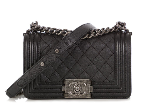 Chanel Small Dark Gray Quilted Caviar Boy