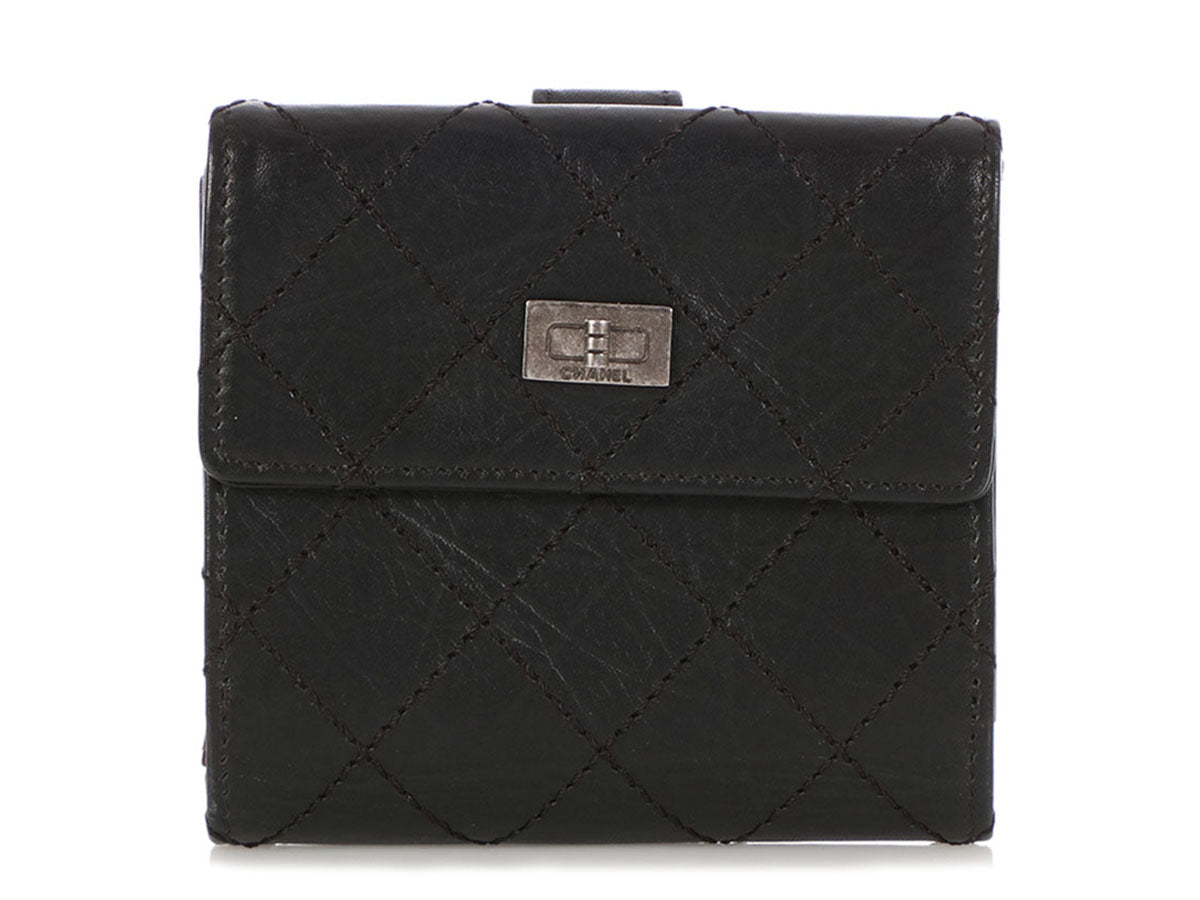 Chanel Black Quilted Distressed Calfskin Reissue Compact Wallet