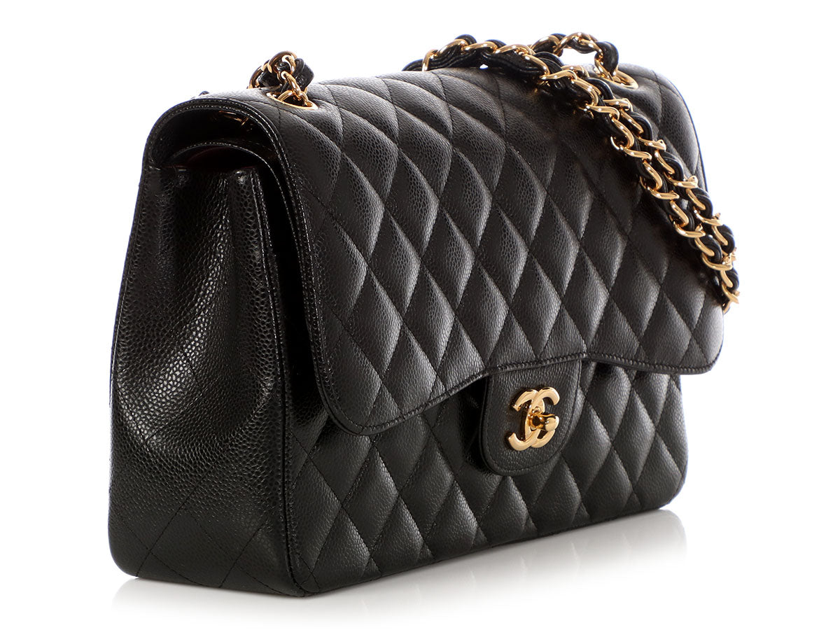 8761eabee3c2 Chanel Jumbo Black Quilted Caviar Classic Double Flap