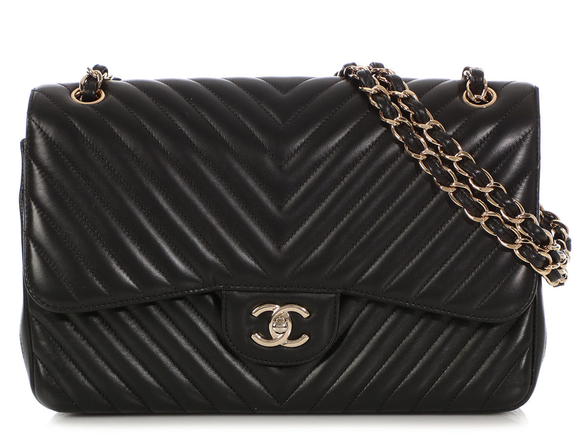 Chanel Jumbo Black Chevron-Quilted Lambskin Classic Double Flap