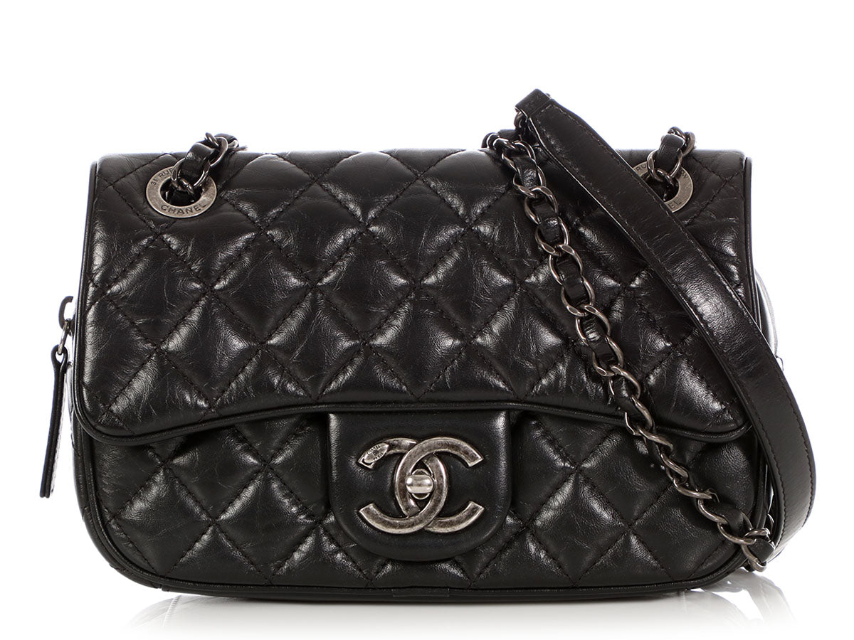 fcdc674508b1 Chanel Small Black Quilted Aged Calfskin Crossbody