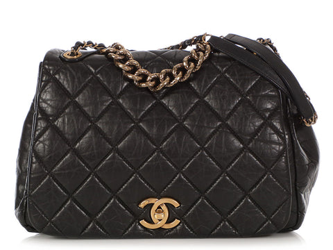 Chanel Large Black Quilted Distressed Calfskin Pondicherry Flap