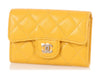 Chanel Yellow Quilted Caviar Card Case