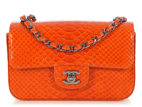 Chanel Small Orange Python Flap
