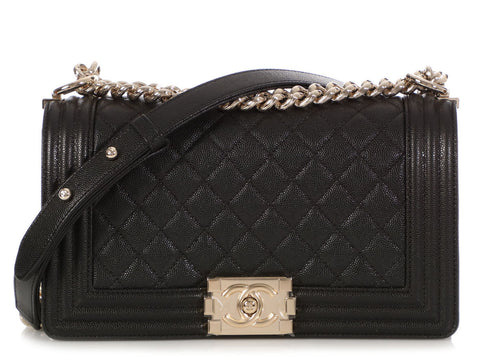Chanel Old Medium Shiny Black Quilted Caviar Boy